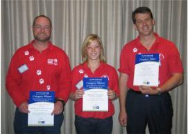 Aussie Pooch Mobile award winners Jim, Belinda and Richard