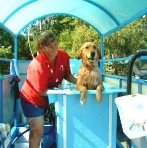 Aussie Pooch Mobile dog wash trailer with hydrobath