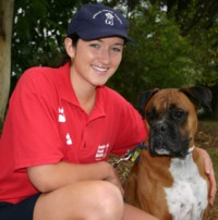 Aussie Pooch Mobile dog wash franchise Jodie Spicer with her trusty dog